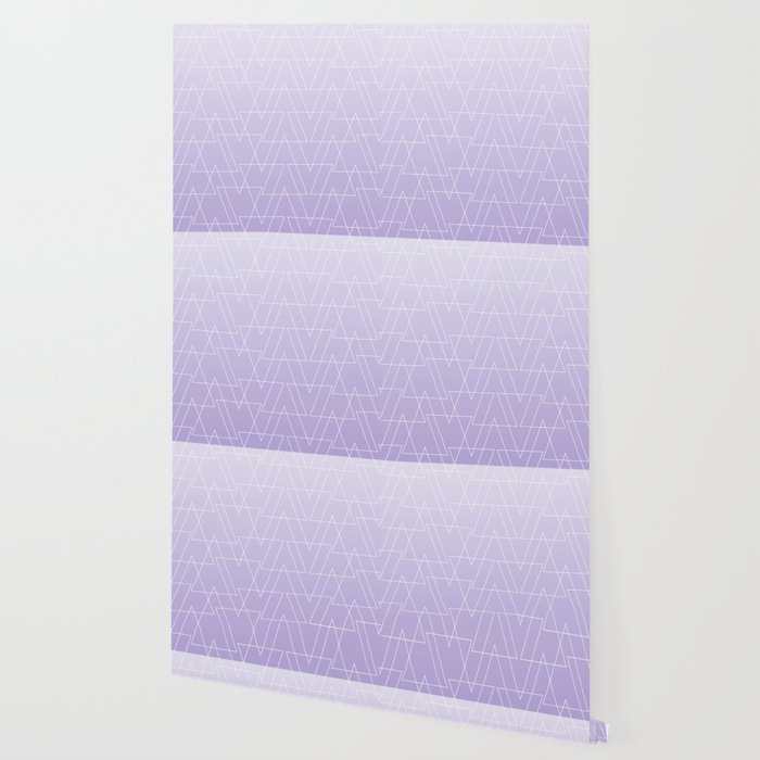 Modern White Geometric Triangles Pattern On Purple Lavender Ombre