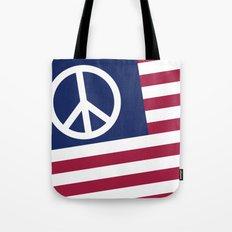 Peace and Love USA Flag Tote Bag