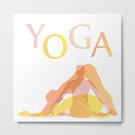 Yoga poses- people doing yoga silhouette- yoga lover Metal Print