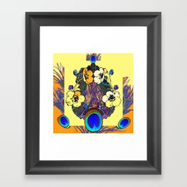 Decorative Modern Art Nouveau Peacock Floral Patterns Framed Art Print