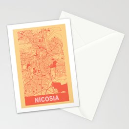 Nicosia, Cyprus, city map, Golden Yellow Stationery Cards