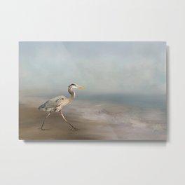 Great Blue Heron On Beach Metal Print