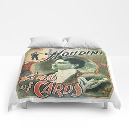 Houdini, king of cards, vintage poster Comforters