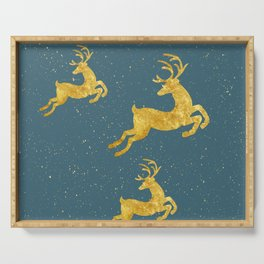 Golden Reindeer Teal Serving Tray