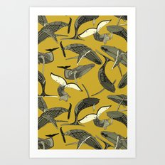 just whales yellow Art Print
