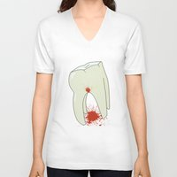 tooth V-neck T-shirts featuring Tooth by Slemdawg Hundredaire