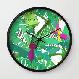 Banana Jungle in White Wall Clock