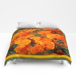 Sage Green Art Golden California Poppies Design Comforters