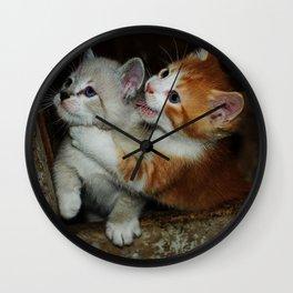 Sibling Rivalry, Kitten Style Wall Clock