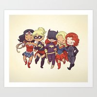 superheros Art Prints featuring Super BFFs by Dooomcat