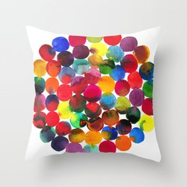 Colored Circles in watercolor Throw Pillow