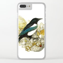 Magpie and Rutilated Quartz Clear iPhone Case