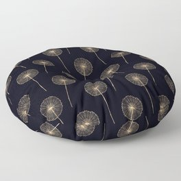 Rose-Gold dandelions pattern on black Floor Pillow