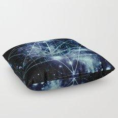 Galaxy Sacred Geometry Flower of Life Ocean Blue Floor Pillow