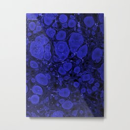 Tova - abstract art for home decor dorm college office minimal navy indigo blue Metal Print