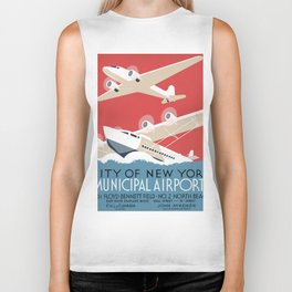 Vintage Airplane Art - City of New York Municipal Airports Biker Tank