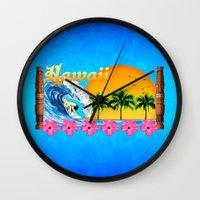 hawaiian Wall Clocks featuring Hawaiian Surfing by MacDonald Creative Studios