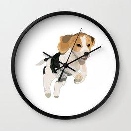 Beagle Art, beagle puppy, digital painting Wall Clock