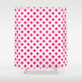 Hot Neon Pink Crosses on White Shower Curtain