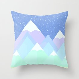 Pastel Mountain Night Scene Throw Pillow