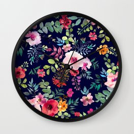 Rainbow Garden Dark Sensual Glow in Dark Flowers Floral Kingdom Wall Clock