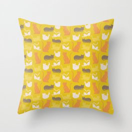 Cats in Yellow Throw Pillow