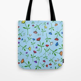 Colorful Flower Toss Tote Bag