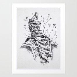 Sono crepe e spine che avanzano tra le vertebre. Art Print