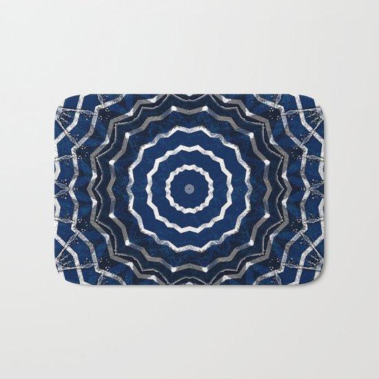 Blue stripes on white grunge textured kaleidoscope Bath Mat