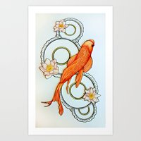 koi fish Art Prints featuring Koi Fish by Eleni Kakoullis