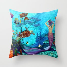 A Fish of a Different Color - Mermaid and seaturtle Throw Pillow