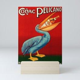 Vintage 1920 Cognac Pelicano Hijos de Quirico Lopez Malaga Advertising Poster Mini Art Print