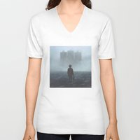 giants V-neck T-shirts featuring Boy and the Giants by yurishwedoff