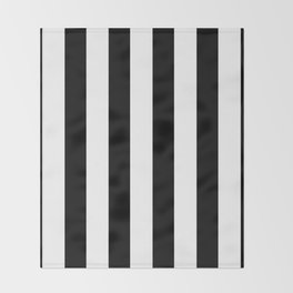 Simply Vertical Stripes in Midnight Black Throw Blanket