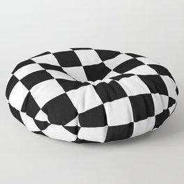 Vintage Chessboard & Checkers - Black & White Floor Pillow