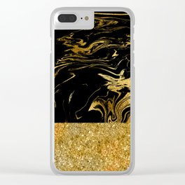 Luxury and glamorous gold glitter and black marble Clear iPhone Case