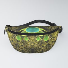 Beautiful Golden Fractal Feathers of the Quetzal Fanny Pack
