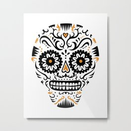 Sugar Skull SF - white Metal Print