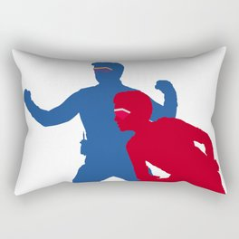 Captain Man and Kid Danger silhouettes with masks Rectangular Pillow