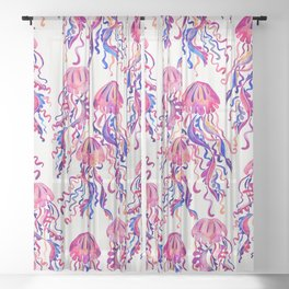 Jellyfish – Magenta Palette Sheer Curtain