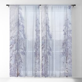 Winter forest trees #36 Sheer Curtain