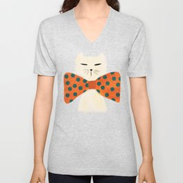 Cat with incredebly oversized humongous bowtie Unisex V-Neck