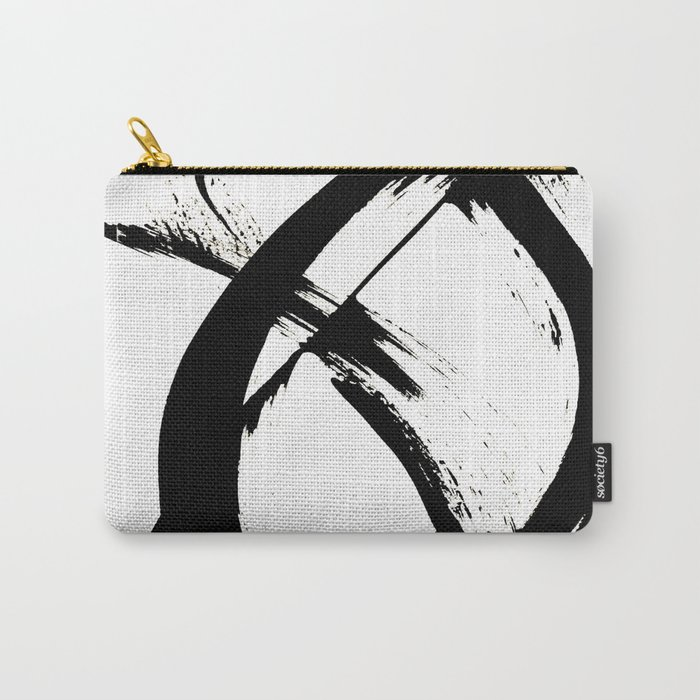 Brushstroke 7: a minimal, abstract, black and white piece Carry-All Pouch