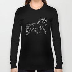 Galloping Horses, White on Navy Blue Long Sleeve T-shirt