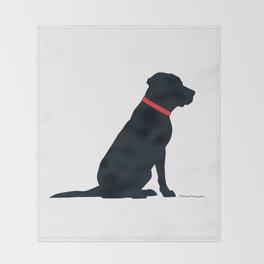 Modern Black Lab Silhouette Throw Blanket