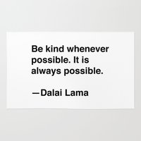 lama Area & Throw Rugs featuring Dalai Lama on Kindness by Quotevetica