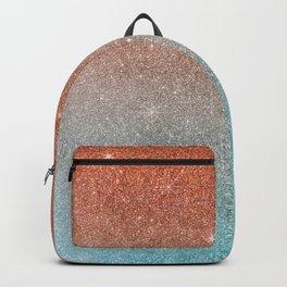Modern terracotta teal gradient elegant glitter Backpack