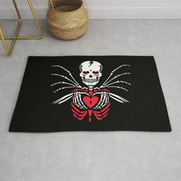 Skeleton holds heart in hands Rug