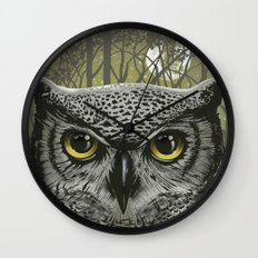Moon Owl Wall Clock
