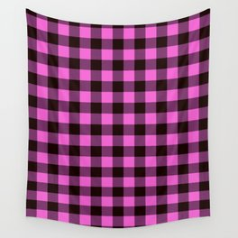 Pink Plaid Wall Tapestry